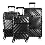 Juego de 3 maletas de viaje de ABS con 4 ruedas rígidas, tamaño mediano y pequeño Negro Negro  grande - medio - piccolo