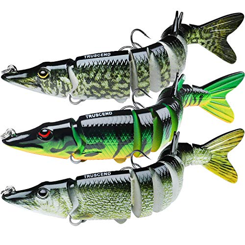 TRUSCEND Fishing Bass Lures 4.9' Multi Jointed Topwater Life-Like Trout Swimbait Hard CrankBaits...
