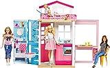 Barbie-DVV48 barbie dos Pisos Plegable, Casa con Muñeca y Accesorios, multicolor Mattel GXC00 , color/modelo surtido