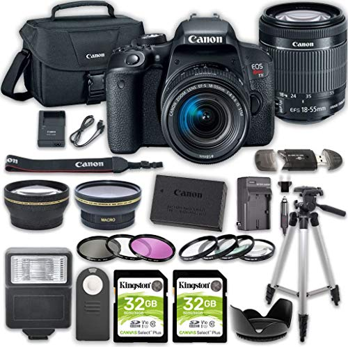 Canon EOS Rebel T7i DSLR Camera Bundle with Canon EF-S 18-55mm f/4-5.6 is STM Lens + 2pc Kingston 32GB Memory Cards + Accessory Kit