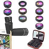 Kit telefono 10 in 1 Kit obiettivo 10X Teleobiettivo + Obiettivo fisheye + Obiettivo grandangolare e macro + 4 Filtro + Obiettivo Kaleidoscope per iPhone...