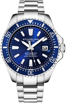 Stuhrling Original Blue Watches for Men - Pro Dive Watch - Sports Watch for Men with Screw Down Crown for 330 Ft. of Water Resistance - Analog Dial, Quartz Movement - Mens Wrist Watch Collection