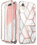 i-Blason Cosmo Full-Body Bumper Case with Built-in Screen Protector for iPhone XR 2018 Release, Pink Marble, 6.1'