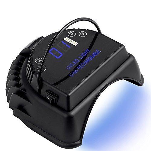 MINI LOP 64W Rechargeable Pro LED Gel Nail UV Light Wireless UV LED Nail Lamp Cordless Led Light for Nails(Black)
