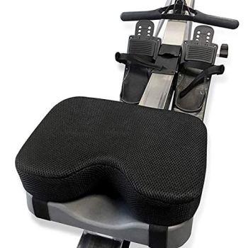 POHOVE Coussin de siège pour rameur, coussin de siège pour rameur à eau avec mousse à mémoire de forme plus épaisse, coussin de bateau avec sangles compatible avec rameur Concept 2