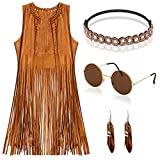 EVISWIY Hippie Costumes Clothes for Women 60s 70s Outfits Women Hippie Vest with Fringe Sleeveless CardiganFaux Seude Tassels Vest Set (Medium) Beige