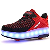Unisexe Kids Scooter LED Chaussures Light up Double Roues Skateboard...