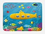 Ambesonne Yellow Submarine Bath Mat, Coral Reef with Colorful Fish Ocean Life Marine Creatures Tropic Kid, Plush Bathroom Decor Mat with Non Slip Backing, 29.5' X 17.5', Blue White