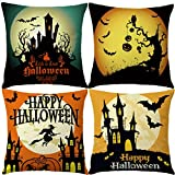 7COLORROOM Set of 4 Halloween Pillow Covers Happy Halloween Castle with Pumpkin/Owl Cushion Cover Cotton Linen Home Decorations Little Witch Element Pillowcases 18x18 Inches (Happy Halloween)