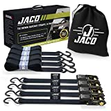 JACO Ratchet Tie Down Straps (4 Pack) - 1 in x 15 ft   AAR Certified Break Strength (1,823 lbs)   Cargo Tie Down Set with (4) Utility Ratchet Straps, (4) Bundling Straps, and Accessories (Black)