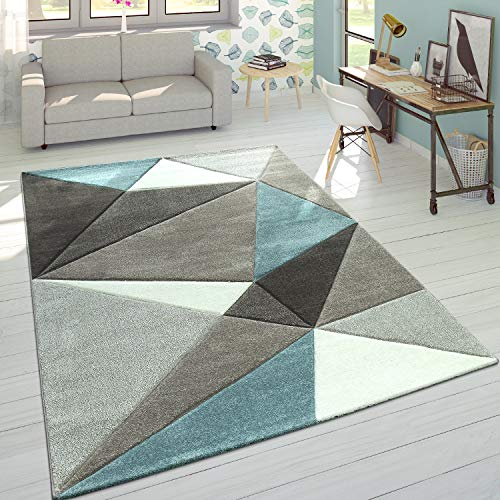 Paco Home Tappeto 3D Triangoli Pastello Trend Grigio Turchese, Dimensione:200x290 cm