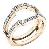 0.75 Carat (ctw) Round Diamond Ladies Wedding Band Enhancer Guard Ring 3/4 CT, 10K Rose Gold, Size 8