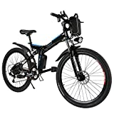 26'' Folding Electric Mountain Bike with Removable 36V 8AH Lithium-Ion Battery 250W Motor Electric Bike E-Bike 21 Speed Gear and Three Working Modes (Black)