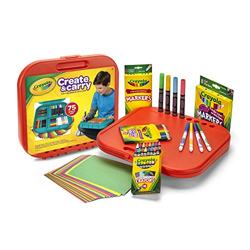 Crayola Create 'N Carry 75Piece Art Kit Art Gift for Kids 5 & Up, 2-in-1 Portable Lap Desk & Carry-Case for Child Artists On-The-Go, Includes Markers, Crayons, Colored Pencils & Paper, Styles May Vary