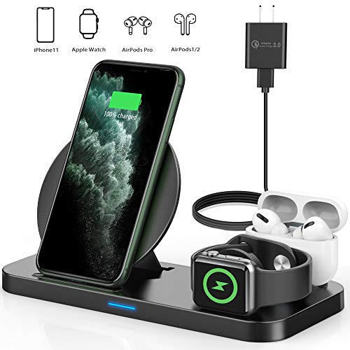 Updated 2020 Version Wireless Charging Station,3 in 1 Qi-Certified Wireless Charger for AirPods/Apple Watch Series 5/4/3/2/1,Fast Wireless Charging Stand for iPhone 11/11 pro/11 Pro Max/XS Max/XR/X/8P