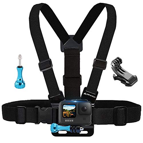 MiPremium pettorale compatibile con GoPro Hero 8 7 6 5 4 3 3+ 2 Fusion Session Black Silver & AKASO EK7000 Sjcam Sport Camera Tracolla regolabile + Jhook & Thumbscrew accessorio