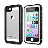 SPIDERCASE iPhone 5/5S/SE Waterproof Case, Full Body Protective Cover Rugged Dustproof Snowproof IP68 Certified Waterproof Case with Touch ID for iPhone 5S 5 SE, NOT for SE 2020 4.7 INCH (White&Clear)