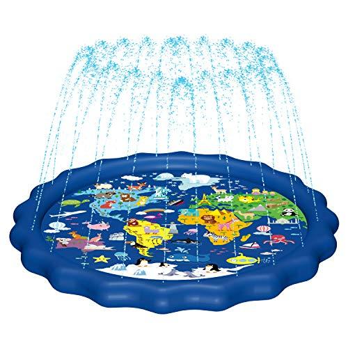 """MAGIFIRESplashPad,SprinklerforKids&BabyPool3-in-167""""WaterToysGiftsfor12345YearOldBoysGirlsToddlerSplashPlayMat(Map)"""