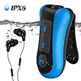 Waterproof MP3 Player with Clip, AGPTEK 8GB Swimming Music Player,S12 Comes with IPX8 Underwater Headphones for Pool Swim Surfing,Shuffel Mode