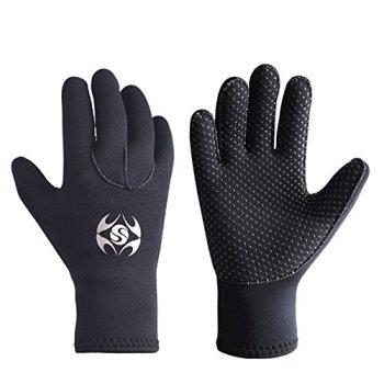 Diving Gloves Neoprene, Wetsuits Five Finger Gloves, 3MM Anti Slip Flexible Thermal Material for Snorkeling Swimming Surfing Sailing Kayaking Diving (M)