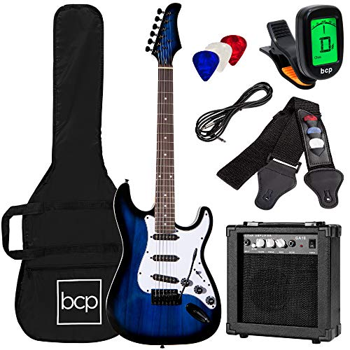 Best Choice Products 39in Full Size Beginner Electric Guitar Starter Kit w/Case, Strap, 10W Amp, Strings, Pick, Tremolo Bar - Hollywood Blue