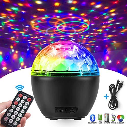 Luci Discoteca LED, FOCHEA 16 Colori Bluetooth Palla da Discoteca Luce USB con Telecomando per...