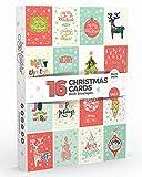 Joy Masters - 16 Tarjetas de Navidad | Caja de Christmas Surtidos con SOBRES | Diseos Clsico - Gran Combo para Hombres y Mujeres - Vol. 1