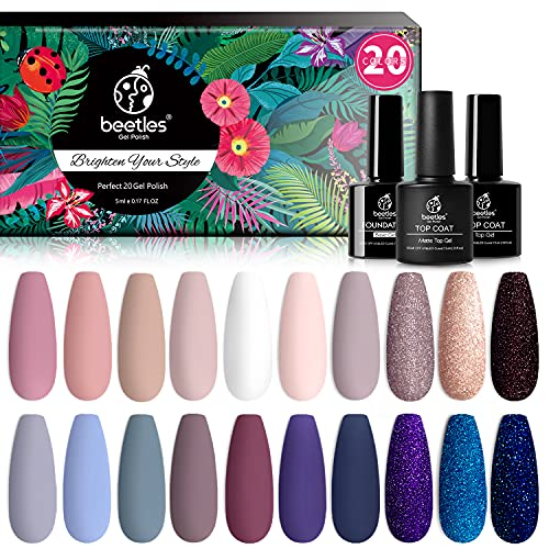 Beetles 23 Pcs Gel Nail Polish Kit, with Glossy & Matte Top Coat and Base Coat- Girls Night Collection Popular White Nude Gray Glitters Soak Off Gel Polish