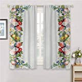 hengshu Victorian Black Out Curtains for Bedroom Rose Garland Pastel Tones Jasmine Cornflower Bouquet Classic Bloom Graphic Patio Door Curtains Living Room Decor W42 x L36 Inch Red Yellow Green