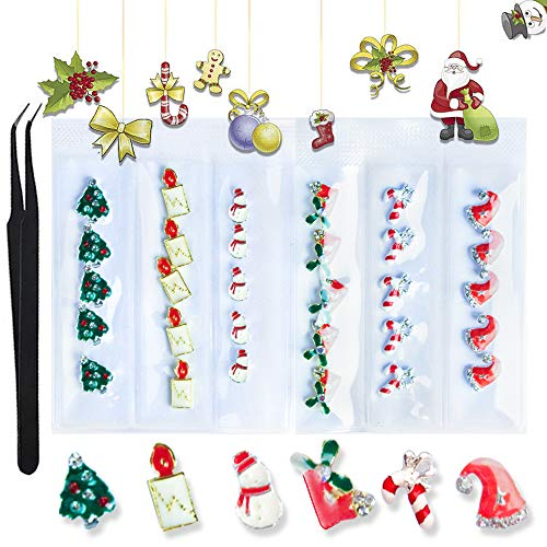WOKOTO 30Pcs 3D Metal Nail Art Alloy Studs And Rhinestone Set 3D Christmas Hat Nail Charm Holiday Pack Nail Rivets Kit Manicure Jewelry Decoration