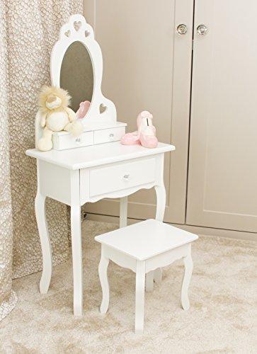 Mädchen Schminktisch Weiß mit Spiegel & Hocker für Kinder | Kleiner Kindertisch, Ideal für Mädchen 3-7 Jahre | Spiegeltisch, Frisierkommode Holz mit 3 Fächern, Herz-Form-Entwurf und Kristallknöpfen