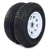 AutoForever 2pcs Trailer Tires Rims ST205 75D15 F78-15 205 75-15 15' 5 Lug 4.5' Wheel White Spoke