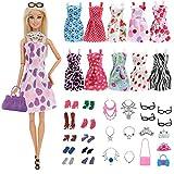 concept-ID - Dressing de Rêve Lots 32 Accessoires - Vêtements - Habits Poupée Mannequin 30 cm - 10 Robes + 10 Chaussures + 6 Colliers + 4 Paires de Lunettes - 2 Sacs - Style Aléatoire