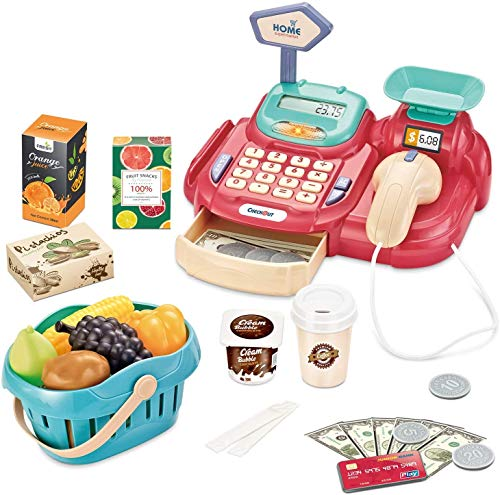 Hayden Ljsu Cash Register for Kids Pretend Play Supermarket Shop Toys with Scanner,Sounds,Calculator,Scale,Card Reader,Credit Card,Play Money and Grocery Toys for Boys Girls