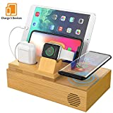 CHGeek Bamboo Wireless Charger-Charging-Station-for-Multiple-Devices, Charging Dock for Apple Watch, AirPods. Wireless Charging Organizer for iPhone. Compatible iPhone 11/11 Pro(Max)
