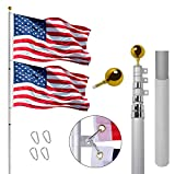 Gientan 30FT Telescopic Flag Pole, Extra Thick Heavy Duty Aluminum Flagpole Kit with 3x5 US Flag Golden Ball Top for Commercial Residential Outdoor Use, Fly 2 Flags