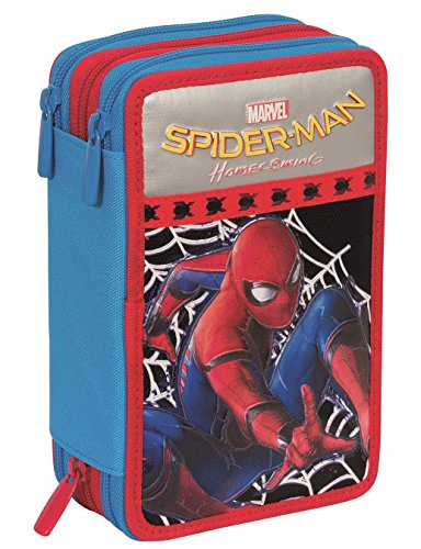 ASTUCCIO 3 ZIP MARVEL - SPIDERMAN HOMECOMING - attrezzato con penne, matite, pennarelli Nero Blu...