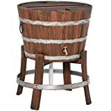 Outsunny 13 Gallons Retro Style Wooden Cooler Ice Bucket with Support Frame, Foldable Flip Cover, and Drain Faucet