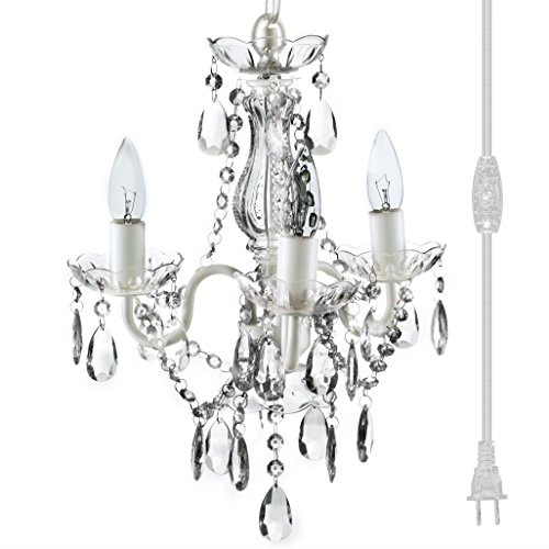 The Original 3 Light Crystal White Plug-in Gypsy Chandelier for H17' W12', White Metal Frame with Clear Acrylic Crystals (Better Than Glass)
