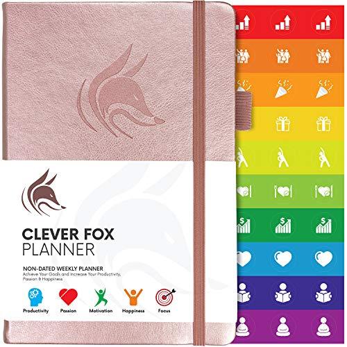 Planificador Clever Fox - Agenda Semanal Mensual Diario Para Disparar la Productividad, Motivación, Felicidad, Éxito y Lograr tus Metas en 2019 - Calendario Organizador de Tareas - Oro rosa