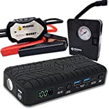 RUGGED GEEK RG1200 Safety Plus 1200A Portable Car Jump Starter with Wireless Charging, Type-C Ports and 12V Air Compressor/Pump. LED Display, INTELLIBOOST 2.0 Safety Cables, LED Flashlight, USB Ports.