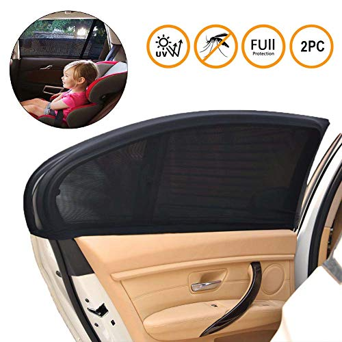 SeWooo Pare-Soleil Voiture Bébé Enfant Pare-Soleil Auto avec Protection UV pour Enfants Chien Siège Arrière Simple Installation Fenêtre latérale sans Ventouse Anti Moustique et Intimité