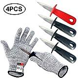 Couteau à huîtres BXIO avec gants résistants aux coupures,...