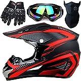 Youth Kids Motocross Helmet Offroad Gear Combo Mask Goggles Gloves,Handsome Little Spider ATV Motorcycle Helmet SUV Dirt Bike Mountain Helmet Gift for Boy,Matte red,S