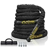 POWER GUIDANCE Battle Rope, 1.5' Width Poly Dacron 30/40/50ft Length Exercise equipment for home gym & outdoor workout, Battle Rope Anchor Included (1.5'' * 30FT Length)