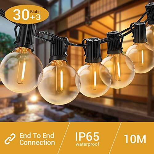 Elegear LED Catena Luminosa 30+3 Filo Luci Esterno Professionali IP65 Impermeabile G40 illuminazione...