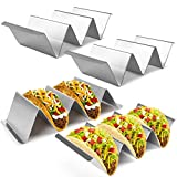 Taco Holder Stand, Tacos Racks with Handles, Set of 4 Stainless Steel Taco Serving Trays, Easy To Fill Tacos Plates, Oven Grill Dishwasher Safe, Holds Up to 3 or 2 Tacos, Use as Shell Baking Racks