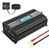 VOLTWORKS 1500W Pure Sine Wave Power Inverter DC 12v to AC 110v-120v with 4.8A Dual USB Ports 3 AC Outlets and Remote Control LCD Display for Home RV Truck[3 Years Warranty]
