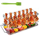 Chicken Leg Wing Grill Rack, BBQ Chicken Drumsticks Rack Stainless Steel Roaster Stand with Drip Pan, Hang Up to 14 Chicken Legs or Wings, Great easy to grill smoke wings in grill or smoker