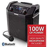 ION Audio Block Rocker Plus | 100W Portable Speaker, Battery Powered with Bluetooth, Microphone & Cable, AM/FM Radio, Wheels & Telescopic Handle and USB Charging For Smartphones & Tablets